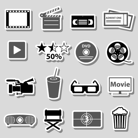 grayscale: movie and cinema vector grayscale stickers set eps10