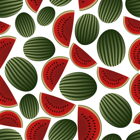 wallop: colorful melon fruits and half fruits seamless pattern eps10