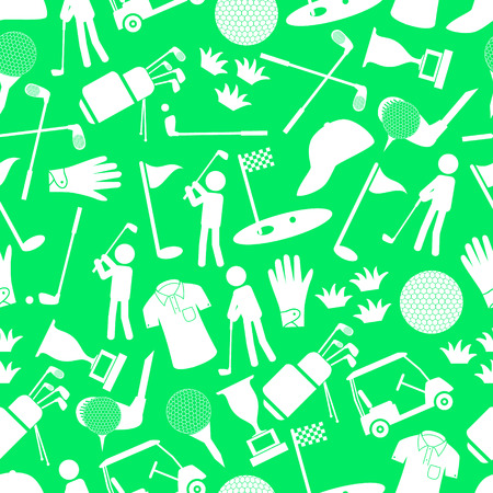 golf sport simple icons seamless pattern Vector