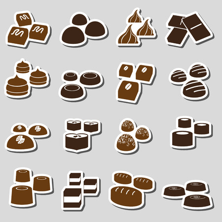 chocolate truffle: sweet chocolate truffles styles stickers set