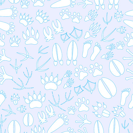 badger dog: animal footprints blue and white seamless pattern