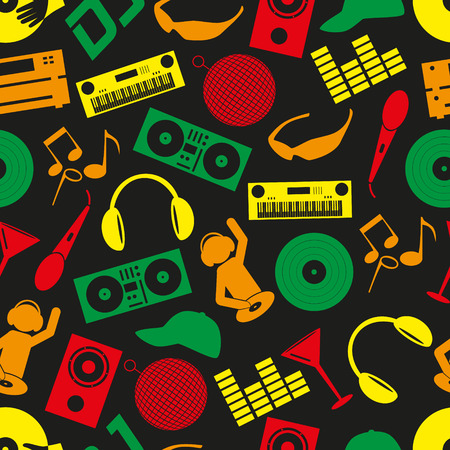club dj: music club dj color icons seamless pattern