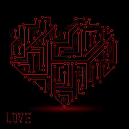 electrical: printed dark red electrical circuit board heart symbol Illustration