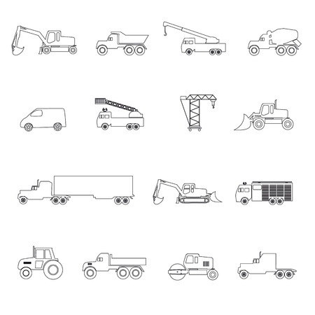heavy machinery: heavy machinery simple outline icons set