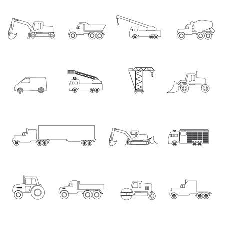 maquinaria pesada: maquinaria pesada iconos simple esbozo establecen Vectores