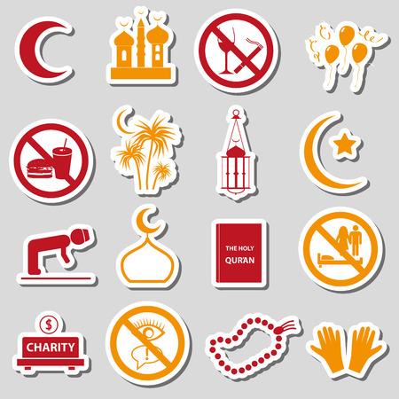 ramadan islam holiday color stickers set Vector