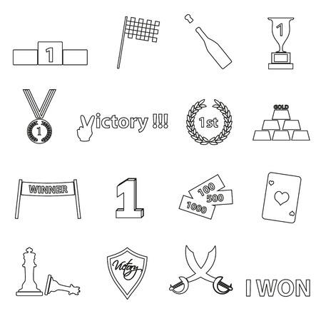 flawless: flawless victory symbols set of outline icons