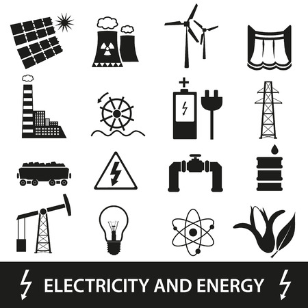 coal power station: electricity and energy icons and symbol