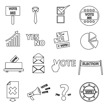 indecision: election black simple outline icons set