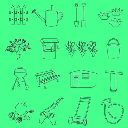hand shovels: garden simple outline symbols and icons