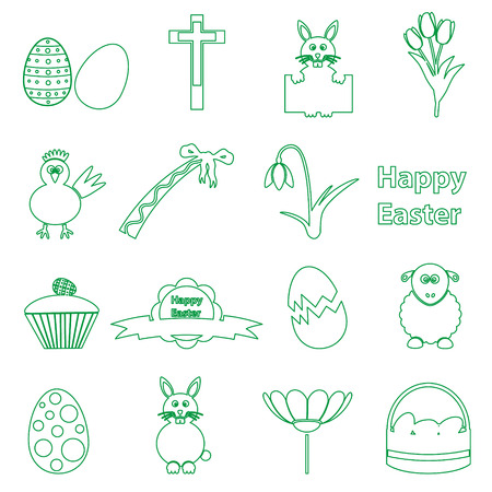 testament: various simple outline Easter icons