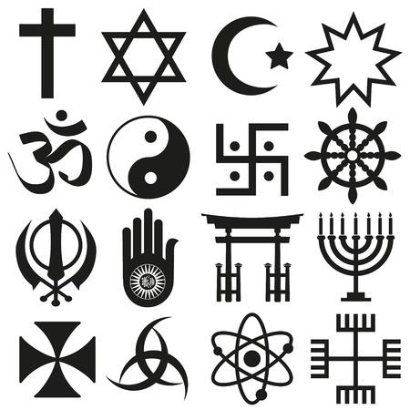religion: world religions symbols vector set of icons