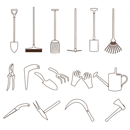 simple black outline gardening tools icons