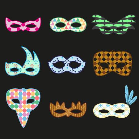 CARNAVAL: carnaval de Rio conception des masques de motif coloré icons set eps10