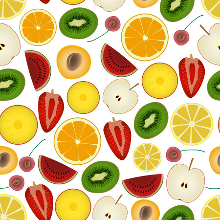 colorful sliced various fruit summer seamless pattern  Illustration
