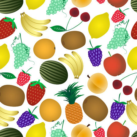 wallop: colorful various fruit summer seamless pattern  Illustration
