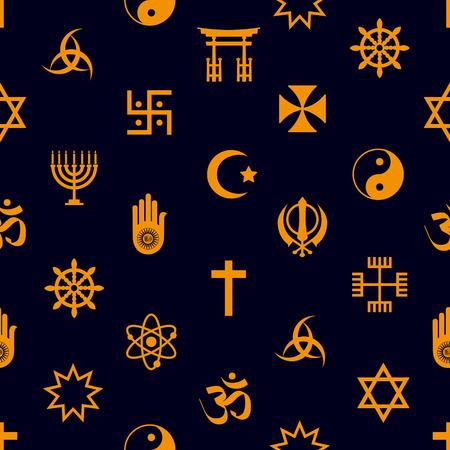 world religions symbols icons seamless pattern Vector Illustration