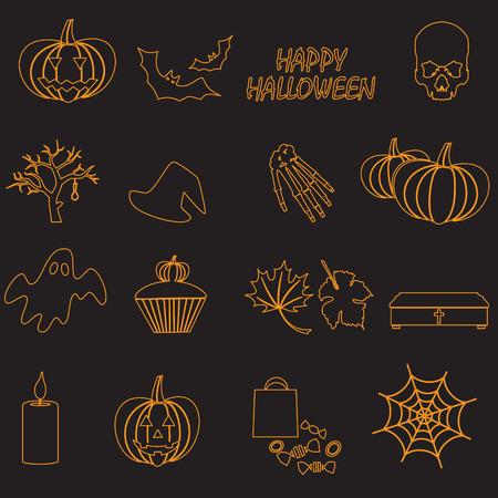 ahorcado: Halloween de color naranja iconos conjunto contorno Vectores