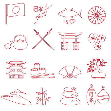 assasin: simple japan theme outline icons set  Illustration