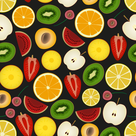 wallop: colorful sliced various fruit summer seamless dark pattern