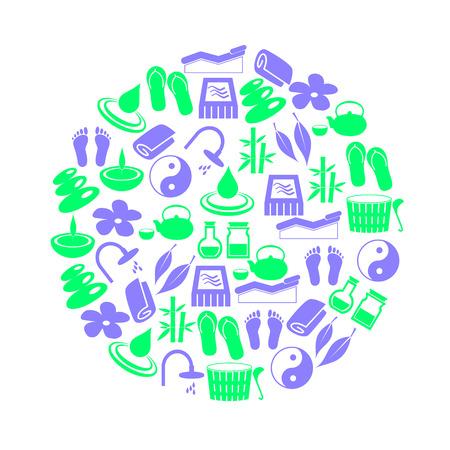d�tente: spa et d�tente couleurs simples ic�nes en cercle