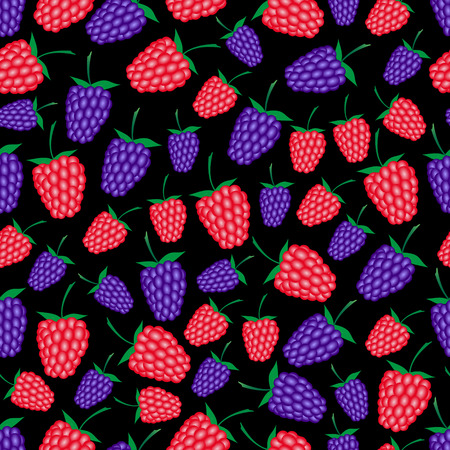 wallop: raspberries and blackberries fruit summer seamless dark pattern