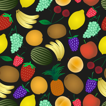 wallop: colorful various fruit summer seamless dark pattern