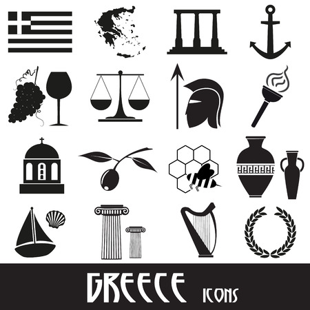 greece flag: greece country theme symbols and icons set