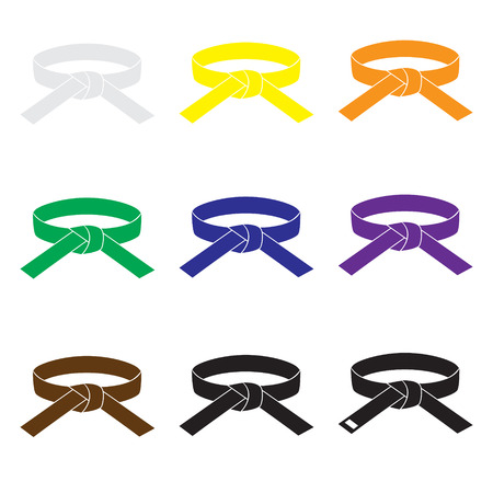 belts: karate martial arts color belts icons set eps10