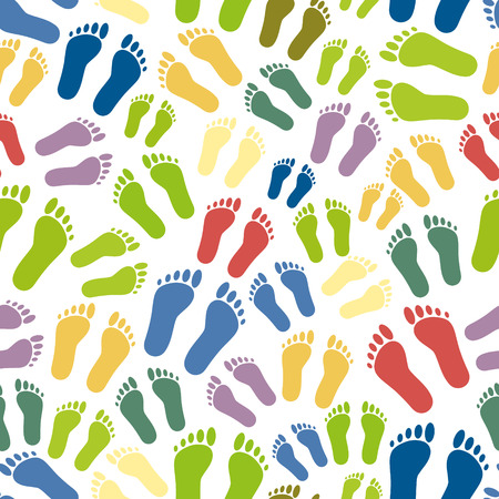 green footprint: human colorful footprints simple seamless pattern eps10
