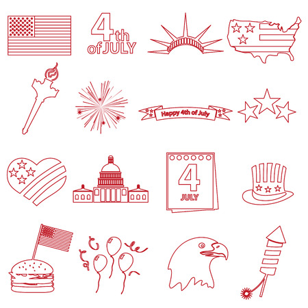 american independence day celebration outline icons set eps10