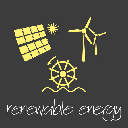 renewable energy source symbols simple banner eps10  イラスト・ベクター素材