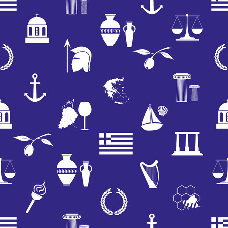 cruet: greece country theme symbols and icons seamless pattern eps10