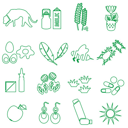 allergens: allergy and allergens green outline icons set eps10