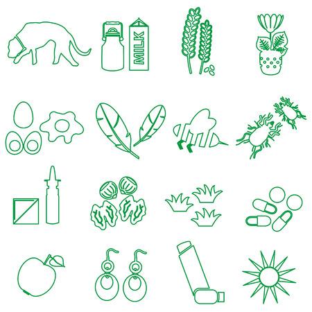 alergenos: eps10 alergia y al�rgenos iconos contorno verde Conjunto