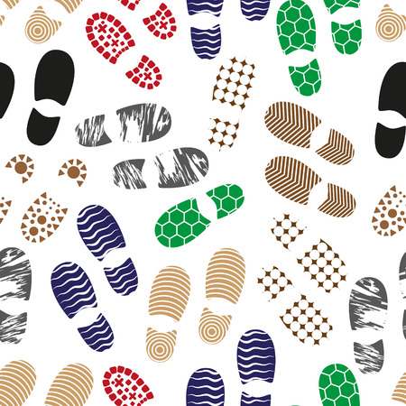 sole: color human shoes footprint various sole seamless pattern eps10