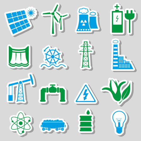edison: electricity and enegry symbol color stickers set eps10 Illustration