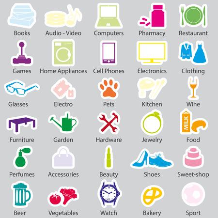 shop department simple vectors stickers set