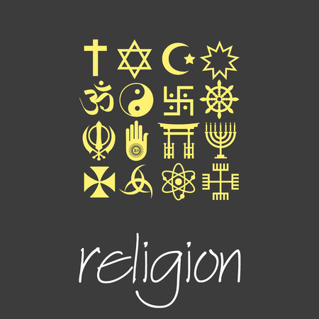 world religions symbols vector set of green icons Vector Illustration