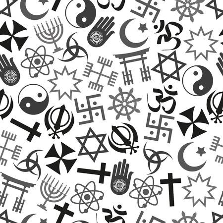 세계는 문자를 벡터 아이콘 회색 원활한 패턴 종교