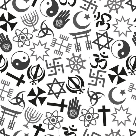 religion: world religions symbols vector icons gray seamless pattern