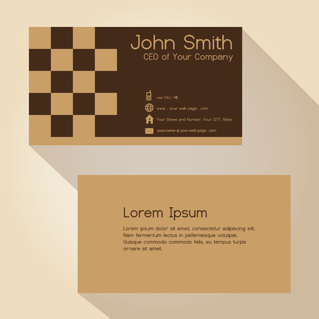blocky: simple brown blocky simple business card design  Illustration
