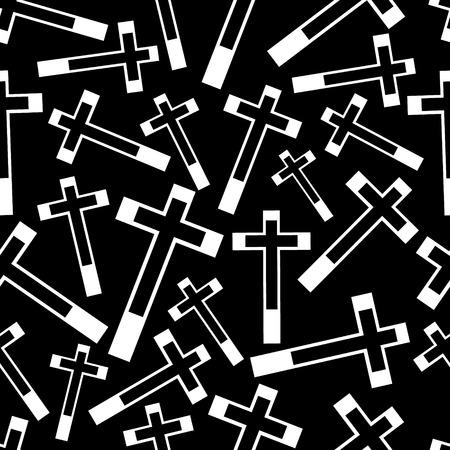 zwart en wit religie kruis naadloos donker patroon