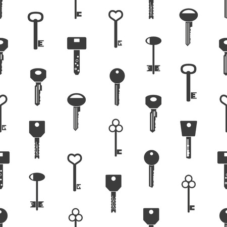 jailer: various black keys symbols for open a lock seamless pattern eps10