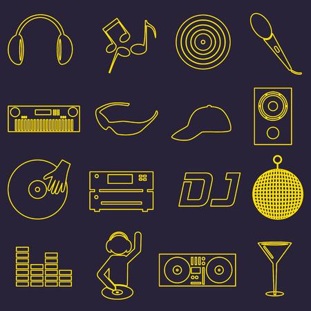 club dj: music club dj simple outline icons set  Illustration
