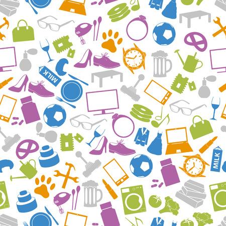 sencillo: departamento de vectores simples tienda de iconos patrón transparente