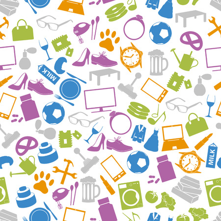 pet store: shop department simple vectors icons seamless pattern