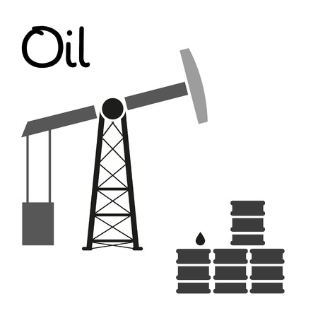 oil well: oil production and oil well and barrels symbol