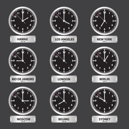 zones: time zones black and silver clock set