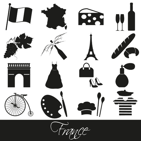 wine and cheese: france country theme symbols and icons set